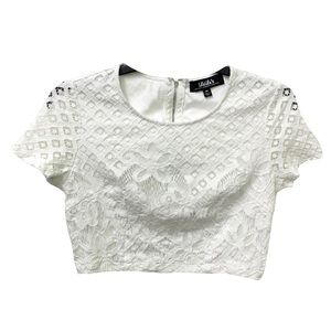 Lulu's White Zip Back Lace Crop Top